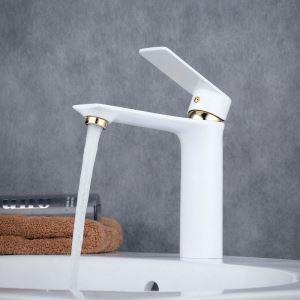 Robinet de lavabo laiton H15.5cm peinture de cuisson blanc or pour salle de bain