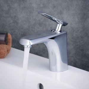 Mitigeur de lavabo laiton chromé H 15.5 cm pour salle de bains toilettes