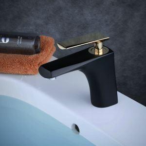Mitigeur de lavabo laiton noir brillant poignée or H 15.5 cm pour salle de bains