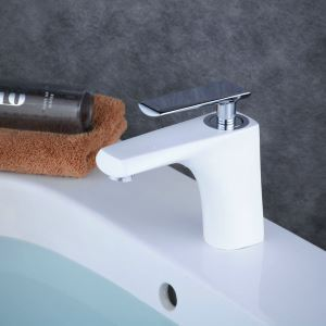 Mitigeur de lavabo laiton blanc brillant poignée chromée H 15.5 cm pour salle de bains