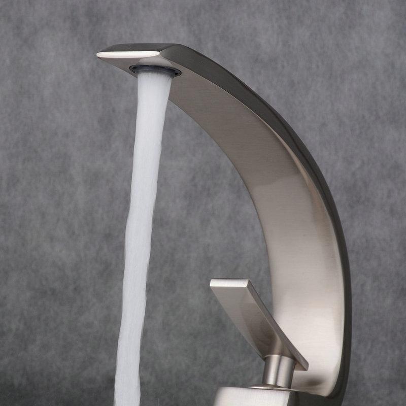 Mitigeur de lavabo inox brossé H 23 cm pour salle de bains ...