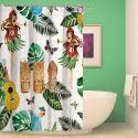 Rideau de douche impression style tropical pour salle de bain imperméable anti-moisissure