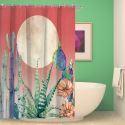 Rideau de douche impression cactus pour salle de bain imperméable anti-moisissure