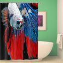 Rideau de douche impression numérique 3D poisson rouge pour salle de bain imperméable anti-moisissure