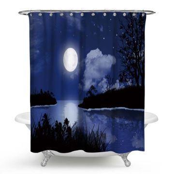 Impression 3d Rideau Anti Salle Scène Pour De Bain Moisissure Douche Nuit Lune Imperméable b6y7fYg