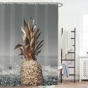 Rideau de douche impression ananas pour salle de bain imperméable anti-moisissure