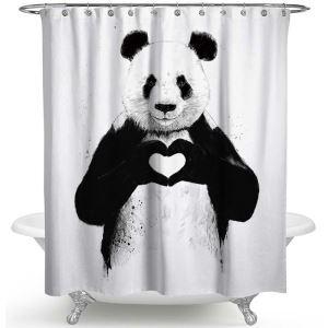 Rideau de douche impression panda mignon pour salle de bain imperméable anti-moisissure