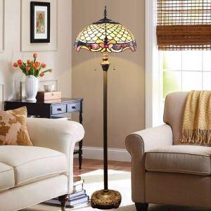 Lampadaire tiffany en verre H165cm motif magnifique pour salon