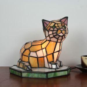 Lampe à poser tiffany en verre D21cm petit chat pour salon chambre