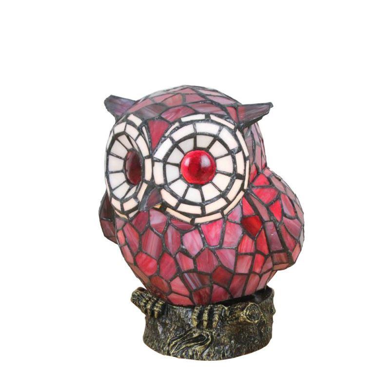Poser Salon Tiffany Pour À En Lampe Chambre Chouette Verre D22cm Rouge vIgYf7y6bm