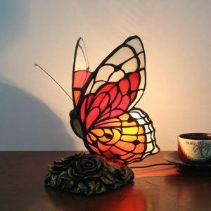 Lampe à poser tiffany papillon H 25 cm rouge pour chambre d'enfant