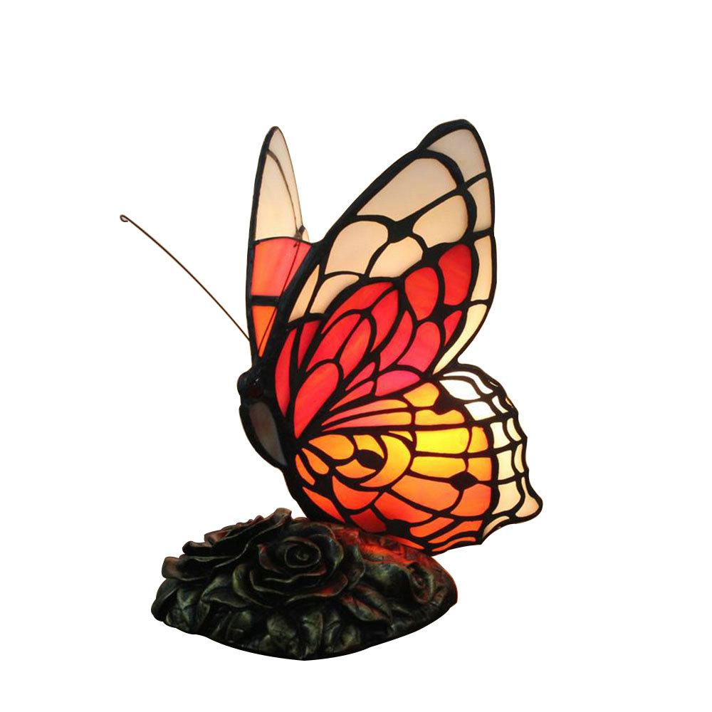 25 À Lampe Chambre Tiffany Cm D'enfant Pour Poser Papillon H Rouge nXN80wOPk