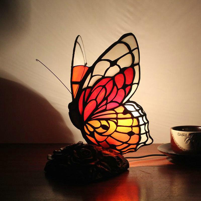 Pour Cm D'enfant Lampe Poser H Rouge À Tiffany Papillon 25 Chambre tshdQCxBro
