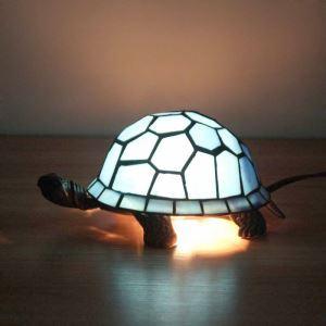 Lampe à poser tiffany en verre D22cm tortue bleu pour salon chambre