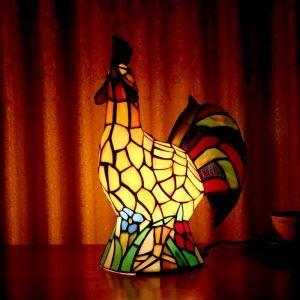 Lampe à poser tiffany en verre D25cm coq pour salon chambre
