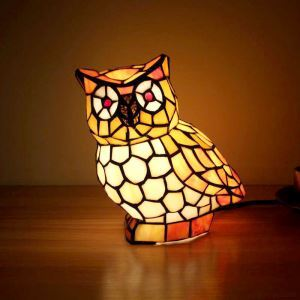 Lampe à poser tiffany en verre D20cm chouette pour salon chambre