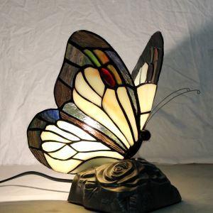 Lampe à poser tiffany en verre D20cm papillon pour salon chambre
