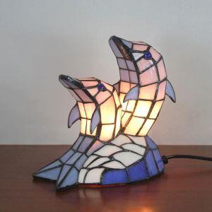 Lampe à poser tiffany en verre D23cm dauphin pour salon chambre
