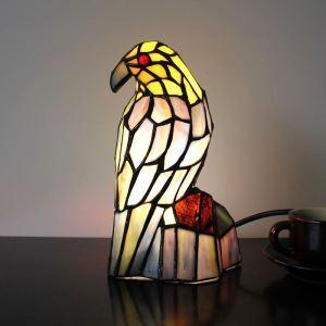 Lampe à poser oiseau tiffany en verre H 24 cm pour chambre chevet