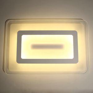 Plafonnier LED L 60cm acrylique rectangulaire pour salon salle