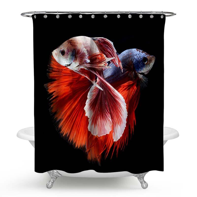 Rideau de douche impression num rique 3d poisson rouge - Anti moisissure salle de bain ...