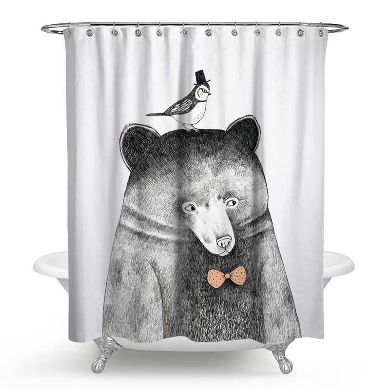 Rideau de douche impression panda mignon pour salle de - Anti moisissure salle de bain ...