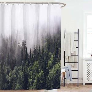 Rideau de douche impression 3D paysage forêt pour salle de bain imperméable anti-moisissure