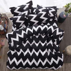 Housse de couette 200*230cm 1 drap 2 taies d'oreiller flot blanc noir