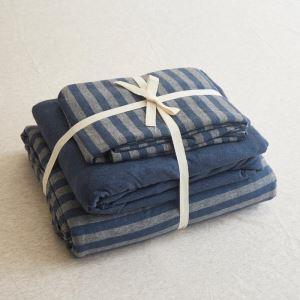 Housse de couette 200*230cm 1 drap 2 taies d'oreiller rayure bleu