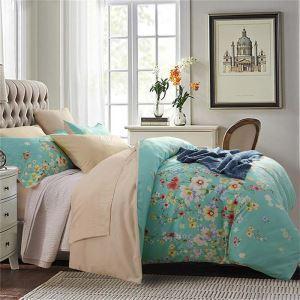 Housse de couette 200*230cm 1 drap 2 taies d'oreiller petit fleur bleu