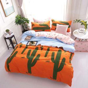 Housse de couette 200*230cm 1 drap 2 taies d'oreiller cactus orange