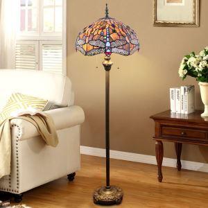 Lampadaire tiffany en verre H165cm libellule coloré pour salle