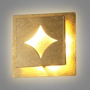Applique murale LED en fer L13cm carré or pour chambre salle