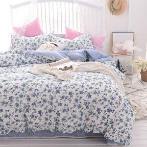 Literie 4 ensemble en coton bleue fleur dentelle doux pastoral