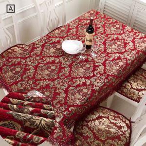 Nappe jeté en chenille rouge jacquard magnifique luxueux