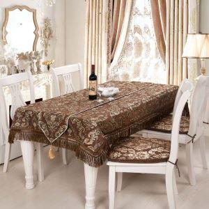 Nappe jeté en chenille brun jacquard magnifique luxueux mode