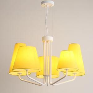 Lustre 5 lampes en tissu D76cm pour salon cuisine