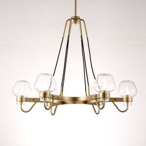 Lustre 6 lampes en verre D78cm or pour salon cuisine