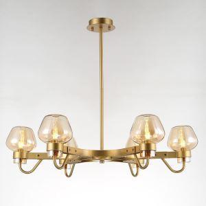 Lustre 6 lampes en verre D78cm pour salon cuisine
