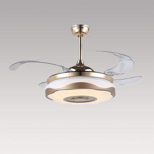Suspension ventilateur LED en acrylique L108cm or rond redouble pour salon