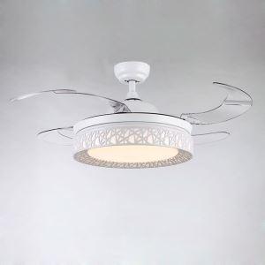 Suspension ventilateur LED en acrylique L108cm blanc pour salon