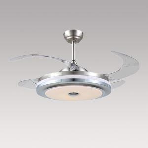 Suspension ventilateur LED en acrylique L108cm argent pour salon