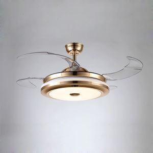 Suspension ventilateur LED en acrylique L108cm or blanc simple pour salon