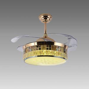 Suspension ventilateur LED en acrylique L108cm or jaune pour salon