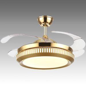 Suspension ventilateur LED en acrylique L108cm or simple pour salon