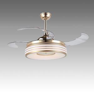 Suspension ventilateur LED en acrylique L108cm or blanc pour salon