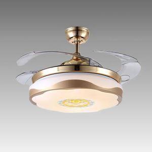 Suspension ventilateur LED en acrylique L108cm fleur simple or pour salon