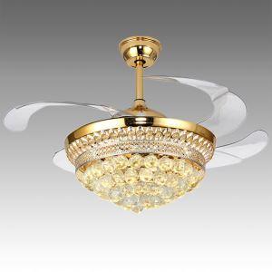 Suspension ventilateur LED en acrylique L108cm or pour salle
