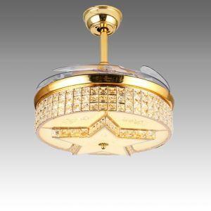 Suspension ventilateur LED en acrylique L108cm or étoile pour salon