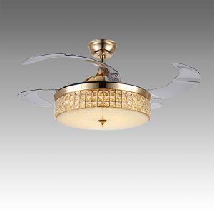 Suspension ventilateur LED en acrylique L108cm or rond pour salon
